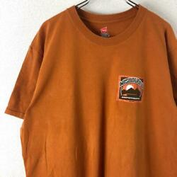 Haines Hanes Both Sides Print Design Short Sleeve T-Shirt Xl Orange Old Clothes