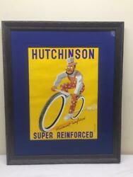 1930 Hutchinson Bicycle Tire Original French Retail Poster Exceptional And Rare