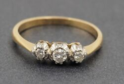Vintage Trilogy Diamond Womens Wedder/engagement Ring 18ct Yellow Gold Val 1360