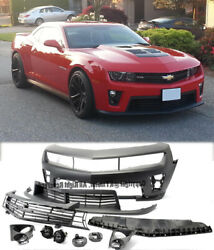 Real Zl1 Style Front Bumper For Camaro 10-13 With Fog Light Lamp Grille Full Set