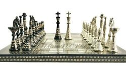 14 Collectible Full Brass Chess Set Hand Carved French 100 Brass Pieces/coins.