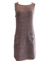 Chanel Pink and Black Knit Sheath Dress with Pockets Size 38