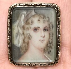 Antique Georgian 15k Gold Miniature Portrait Brooch Of Young Woman, Late 18th C