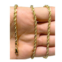 Authentic 14k Light Solid Yellow Gold 4mm Rope Chain Necklace Size 20-28