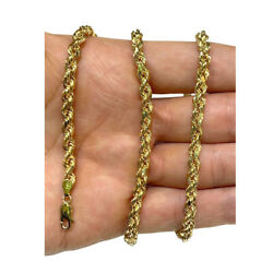 Authentic 14k Light Solid Yellow Gold 5mm Rope Chain Necklace Size 22-30
