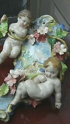 Antique 19c French Very Rare Faience Putti Wall Vase