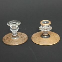 VTG Pair of 2 Tiffin Clear Glass Candlestick Holders Gold Encrusted Scrolls