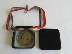 Presidential Indian Peace Medal On Necklace Collar Ribbon Us Andrew Johnson 1865