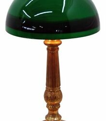 3017 Early 20th C. Bronze Lamp With Emeralite Student Shade
