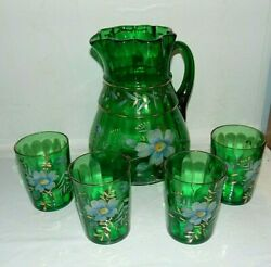 Antique Pitcher And Glasses Green Painted Beaumont Glass 101 Pressed Optic 1900