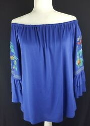 ALTARD STATE OFF SHOULDER WOMEN BLOUSE SIZE M TOP ROYAL BLUE COLOR NEW 1143A $12.99