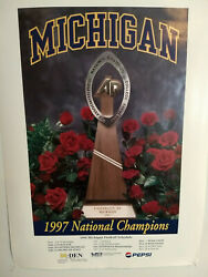 1998 Michigan Wolverines Football Schedule Poster - National Champions - Rare