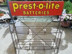Vintage Prest-o-lite Batteries Display Stand Gas Station Oil Can Automotive