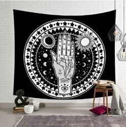 Hand in Circle Black and White Tapestry Wall Hanging Home Décor