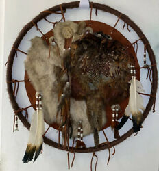 VTG LARGE Dream Catcher Fur Wool Feathers Native American Indian Mandala 26.5""