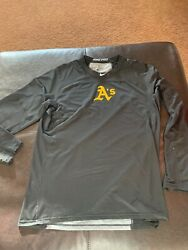 Oakland Aandrsquos Athletics Nike Pro Combat Game Used Shirt Xl Fitted 62 Black