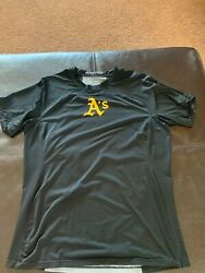 Oakland Aandrsquos Athletics Nike Pro Combat Game Used Shirt Xl Fitted 18 Black