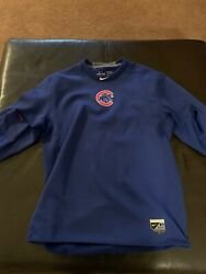 Chicago Cubs Game Used Nike Pro Combat Fleece Sweatshirt Jacket Xl 44 Fitted