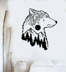 Vinyl Wall Decal Wolf Animal Tribal Nature Moon Tree Bedroom Stickers g3112