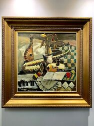 Oil On Canvas Signed Sill Life Of Musical Instruments