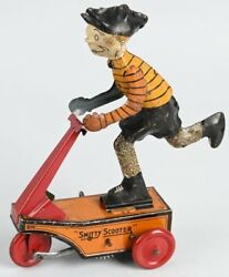 Vintage 1920's Marx Smitty Scooter Tin Wind Up Toy