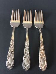 3three Kirk And Son 925 Sterling Silver Rose Salad Forks