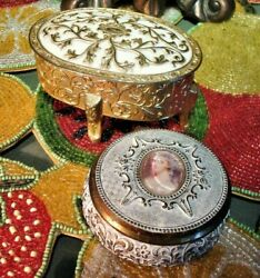 Vintage Ornate White And Gold Oblong And Round Metal Trinket Boxes 2