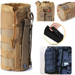 Outdoor Tactical Bottle Holder MOLLE Water Bottle Drawstring Pouches for Hiking $7.99