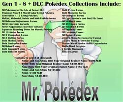Shiny Pokedex Gen 1 - 8 Collection Including Isle Of Armor Dlc Additions