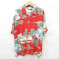 Auth Shirt Aloha Short-sleeved Printed Fuji Red Green Blue Excellent