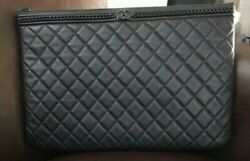 Large Black Quilted Leather Gold Chain Boy Clutch Pouch Envelope 2019 Jan