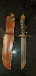 Rare Ww2 Japanese Knife Dagger Dirk Collectible Antique Leather Case Navy