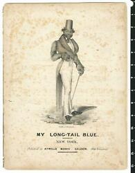 1827 My Long-tail Blue Sheet Music Early African American History