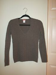 J.Crew 100% Cashmere Cable Knit Camel Brown V-Neck Sweater XS NWOT Sample