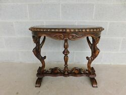 Antique Ornate Carved Marble Top Female Sphinx Ends Accent Table
