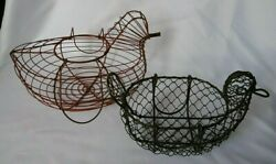 Lot Of 2 French Vintage Chicken Hen Wire Egg Basket And Handles France