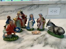 Vintage Fontanini Paper Mache 8 Piece Nativity Set Hand Painted Italy