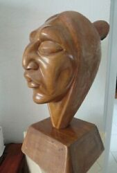 Carved Native American Wood Bust 15