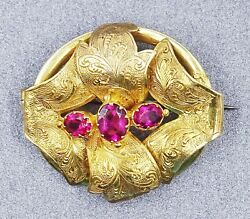 Vintage Ruby Rhinestone Womens Brooch Gold Plated Fashion Jewelry