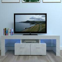 51 High Gloss Tv Stand Cabinet Console Unit Furniture With Led Shelve 2 Drawers