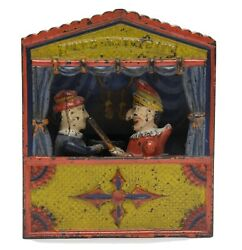Antique C.1884 Shepard Hardware Company Punch And Judy Cast Iron Mechanical Bank