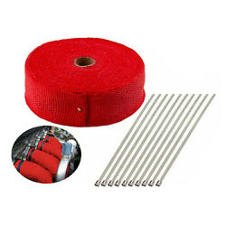2 50ft Exhaust Header Pipe Heat Wrap Trap Motorcycle Fiberglass And 10 Ties Red
