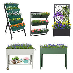 Raised Garden Bed Patio Grow Box Kit Elevated Vertical Planters Vegetables Herbs