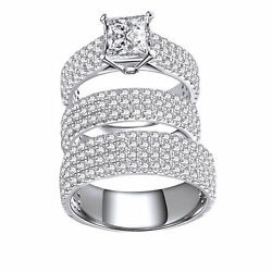 Simulated Square Princess Cut 14k White Solid Gold Trio Wedding Ring Set