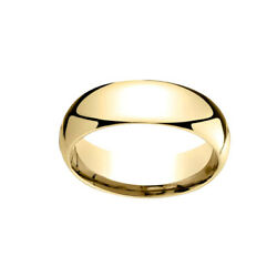 10k Yellow Gold 7mm Slightly Dome Comfort Fit Classic Wedding Band Ring Sz 13