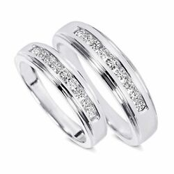 3/8 Carat T.w. Diamond His And Hers Wedding Band Set Solid 10k White Gold