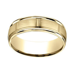 14k Yellow Gold 7mm Comfort Fit Satin Finish Center Cuts Edge Band Ring Sz 13
