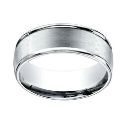 14k White Gold 8mm Comfort Fit Satin Finish Round Edge Carved Band Ring Sz 13