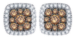 0.5 Ct Champagne And Natural Diamond Cushion Frame Stud Earrings In 10k White Gold