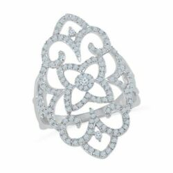 3/4 Ct Real Diamond Vintage-style Scroll Ring In 10k White Gold
